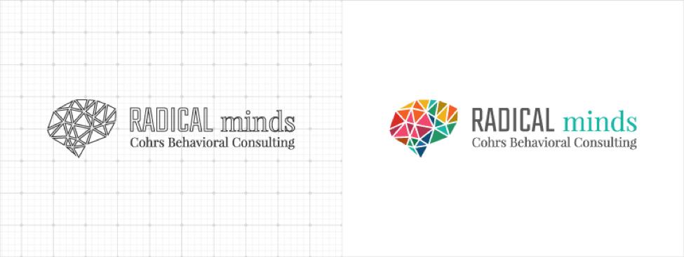 radical minds logo design