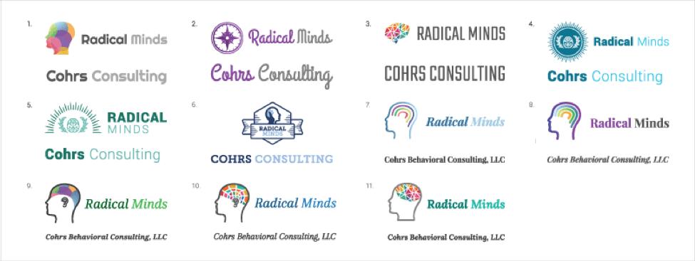 radical minds logo options
