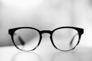 glasses sitting on a table