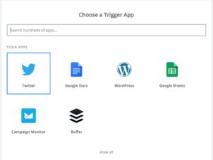 zap trigger selection screenshot