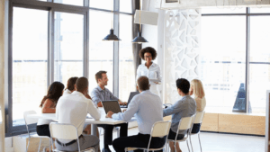 employees talking during a meeting
