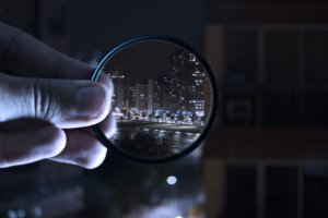 a magnifying view of a city