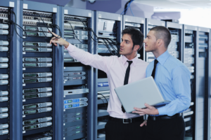 professional men in server room modern hr