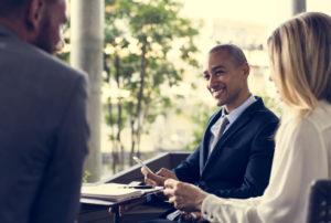 professional recruitment team discussing process