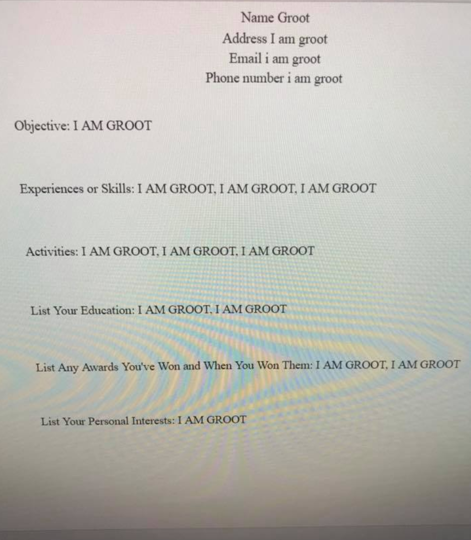 I am groot resume