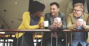 happy professionals coffee diverse