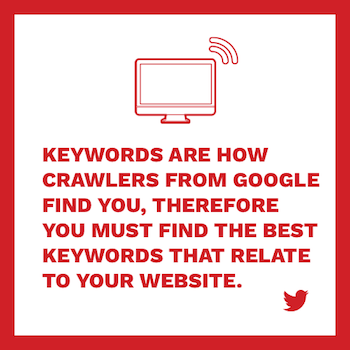 Keywords are how crawlers from google find you, therefore you must find the best keywords that relate to your website.