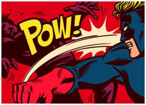 Pop art super hero and villian