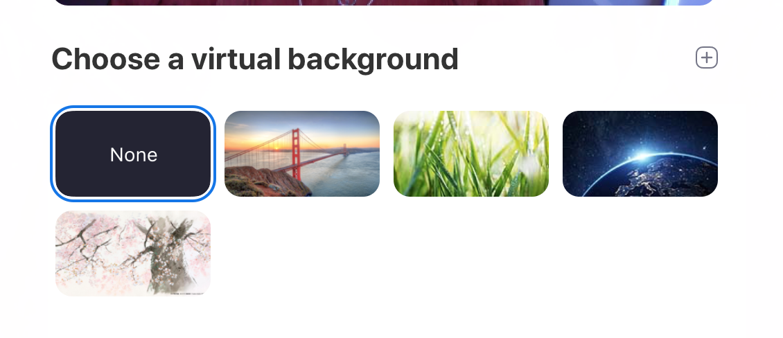 Zoom background options
