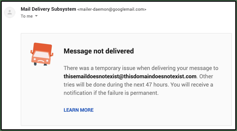 message not delivered email image